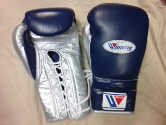 Winning winning training boxing gloves 16 oz lace up in  Navy x Silver