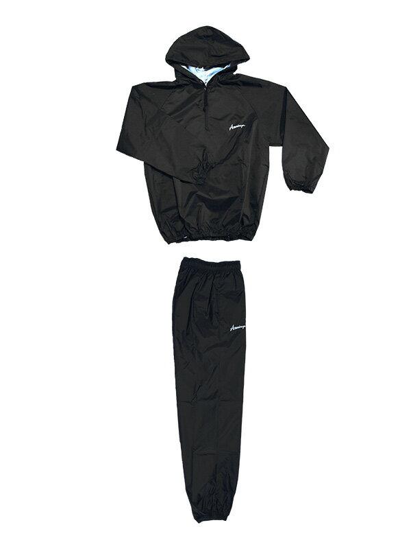 日本製 サウナスーツ・プロボクサーの必需品 アメリカ屋オリジナル減量着上下セットフード付タイプ黒xホワイトロゴ 裏地シルバー