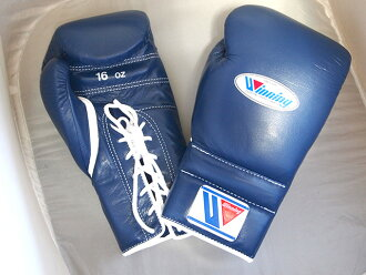 IN STOCK 【LIMITED ITEM・special price】Winning Boxing glove 16oz lace up in NAVY for professiona use