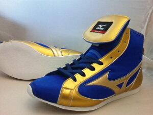 NEWミズノショートボクシングシューズ(当店オリジナルブルーxゴールド)補強もゴールドオリジナルシューズバッグ付(ボクシング用品・リングシューズ)