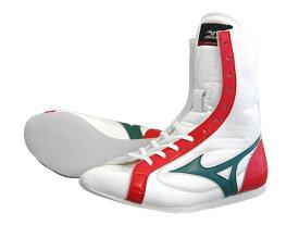 アメリカ屋オリジナルカラー・ミズノボクシングシューズミドル(白xグリーンx赤)オリジナルシューズバッグ付