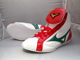 ミズノショートボクシングシューズ(白xグリーン×赤)オリジナルシューズバッグ付(ボクシング用品・リングシューズ)mizuno made in Japan 21GX181000