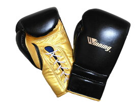 【限定商品】16オンス ブラック×ゴールド(W) Winning ウイニング練習用 ボクシング グローブ (プロタイプ)