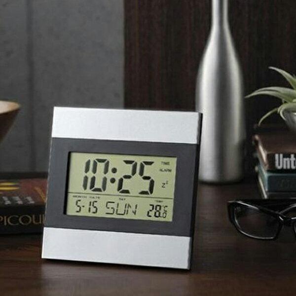 送料無料 !( メール便 ) 壁掛け時計 & 置き時計 2WAY 多機能クロック アルミフレーム インテリアクロック 時間 日付 曜日 気温 アラーム デジタル表示 タイマー スヌーズ デジタル時計 (検索: 目ざまし時計 デジタルウォッチ) 送料込 ◇ 時計 29153