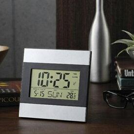 壁掛け時計 & 置き時計 2WAY 多機能クロック アルミフレーム インテリアクロック 時間 日付 曜日 気温 アラーム デジタル表示 タイマー スヌーズ デジタル時計 (検索: キッチンタイマー 目ざまし時計 デジタルウォッチ 景品 ) まとめ買い ◇ 時計 29153
