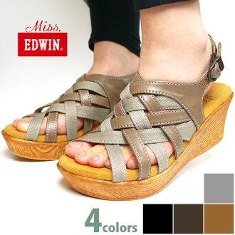 附带能调节missEDWIN密斯埃德温女士高帮楔子鞋底凉鞋格雷迪A三鞋跟6.5厘米的橡胶的前后卫陷井□ew6001□