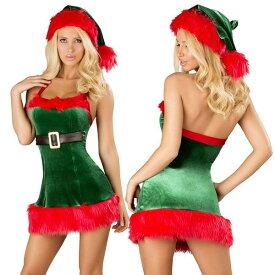 海外ブランド ROMA ローマ クリスマス コスプレ レディース サンタ コスチューム 海外 衣装 緑色ベルベット 赤ファー縁取りミニドレス/大人 仮装 パーティー イベント