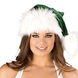 海外ブランド ROMA ローマ クリスマス コスプレ レディース サンタ コスチューム 海外 衣装 緑色ベルベット 白ファー縁取りサンタ帽子単品/大人 仮装 パーティー イベント