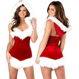 海外ブランド ROMA ローマ クリスマス コスプレ レディース サンタ コスチューム 海外 衣装 フード付赤ベルベット 白ファー縁取りミニドレス/大人 仮装 パーティー イベント