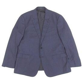 ◆美品◆ ジョルジオ アルマーニ ARMANI 2017年 シングル ジャケット チェック柄 SOFT 高級 メンズ ウール ネイビー size58 [256901] 【中古】