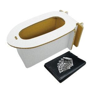【耐荷重約420kg】ブレイン こども用非常用トイレ!【BR-972 子供用(女性用)ダンボールトイレ(アルミ凝固剤×5袋、汚物袋×5袋付)(対象年齢2歳以上)】組立式簡易ダンボールトイレ!非常用ト