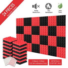 国内発送 AGPTEK 波型 レッド ウレタンフォーム スポンジ 吸音材 緩衝材 クッション材 密度26kg/m3 25cm×25cm 24枚セット (厚み 5cm) 赤い 黒い