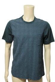 ジョルジオ アルマーニ GIORGIO ARMANI チェック柄 シルク混 切り替え 半袖 Tシャツ size 50 ネイビー メンズ【中古】【送料無料】