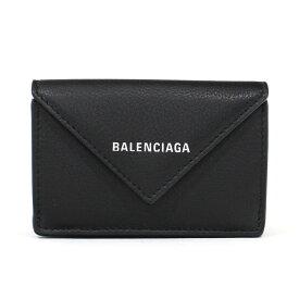 バレンシアガ BALENCIAGA ミニ財布 三つ折り財布 小銭入れ有り ペーパーミニウォレット ノアール ブラック 黒 カーフスキン PAPER MINI WALLET 391446 DLQ0N 1000