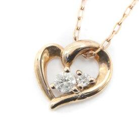 【中古】4℃ ヨンドシー ハート ネックレス レディース ゴールド ダイヤモンド K10ピンクゴールド ジュエリー