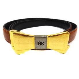 【中古】NINA RICCI ニナリッチ リボン リバーシブル ベルト レディース ブラウン ブラック レザー