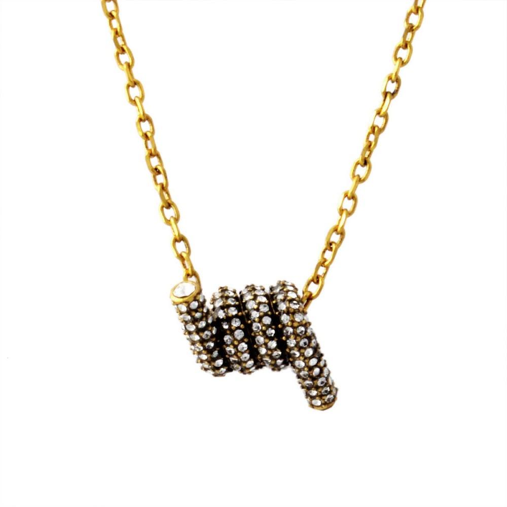 マークジェイコブス MARC JACOBS M0009721-992 Crystal/Antique Gold パヴェ ツイスト ペンダント ネックレス Pave Twisted Short Pendant【MARC JACOBS】【新品】【Brandshop IL】