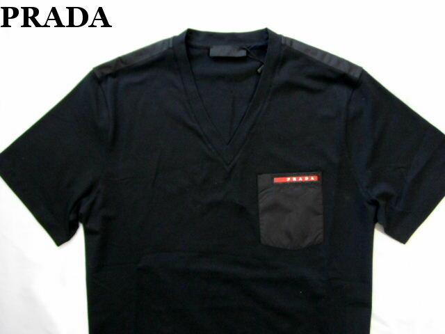 PRADA プラダ メンズ Tシャツ ブラック Vネック カットソー M【未使用】【中古】【新品】