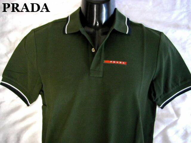 PRADA プラダ ポロシャツ カーキ メンズ L 鹿の子 【未使用】【中古】【新品】