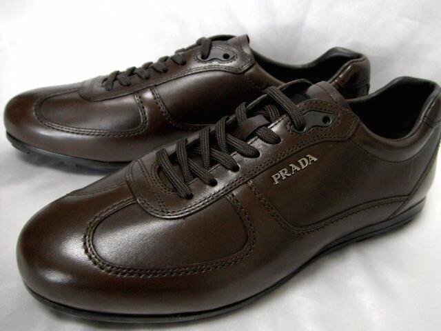 PRADA プラダ レザー スニーカー メンズ メタルロゴ シューズ 靴 8【未使用】【中古】【新品】