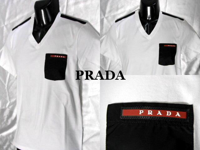 PRADA プラダ Tシャツ ホワイト メンズ Vネック カットソー【未使用】【中古】【新品】