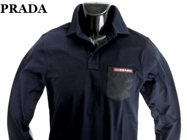 PRADA プラダ ポロシャツ 長袖 ネイビー メンズ【未使用】【中古】【新品】