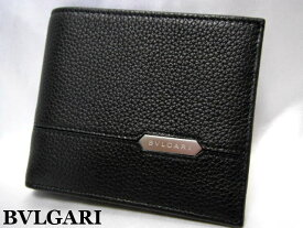 BVLGARI ブルガリ 二つ折り財布 メンズ ブラック レザー 小銭入れナシ【未使用】【中古】【新品】