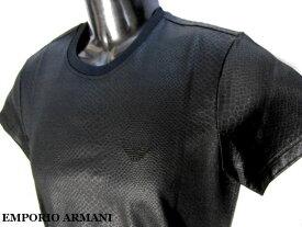EMPORIO ARMANI 日本製 エンポリオアルマーニ Tシャツ カットソー 半光沢パイソン柄 メンズ M ブラック【未使用】【中古】【新品】