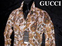 GUCCI グッチ メンズ カジュアル コットンシャツ オレンジペイズリー 38サイズ【未使用】【中古】【新品】