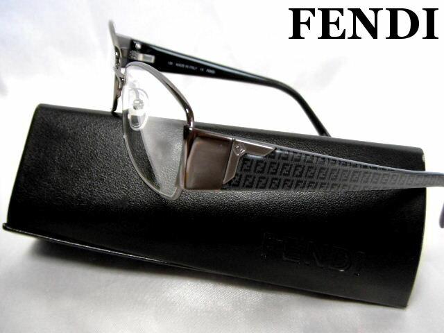 FENDI フェンディ メガネフレーム 眼鏡 めがね 伊達メガネ ガンメタル×グレー 老眼鏡【未使用】【中古】【新品】
