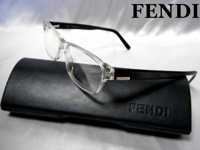 FENDI フェンディ メガネフレーム クリア×ブラック 眼鏡 めがね 伊達メガネ 老眼鏡【未使用】【中古】【新品】