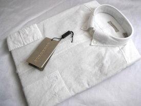 BURBERRY バーバリー ボタンダウンシャツ メンズ M 長袖 ホワイト 麻混 リネン【未使用】【中古】【新品】