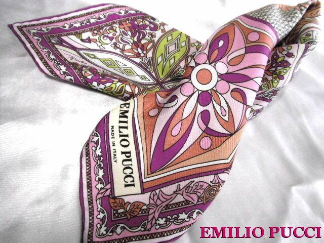EMILIO PUCCI エミリオプッチ シルク スカーフ ピンク系【未使用】【中古】【新品】