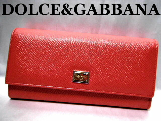 DOLCE&GABBANA ドルチェ&ガッバーナ 二つ折り 長財布 レッド系【未使用】【中古】【新品】