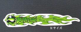 ビンテージ!デッドストック・BURTONステッカー日本代理店正規品BURTON・バートン【ステッカー・シール】『アニメBURTON/グリーンファイヤーステッカー』MサイズDM便選択できます