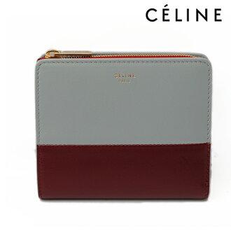 CELINE 셀 린 접 지갑 COMPACT Mul 바이 컬러 10095 SKY 스카이/WAINE 그레이/와인 램 스킨