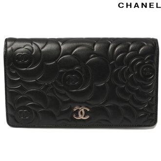 Chanel CHANEL long wallet Camellia-press A36544 lambskin black silver fittings