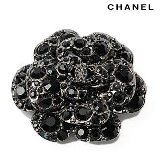 CHANEL CHANEL pin broach 12C A60222 Y02003 camellia black / chrome silver rhinestone