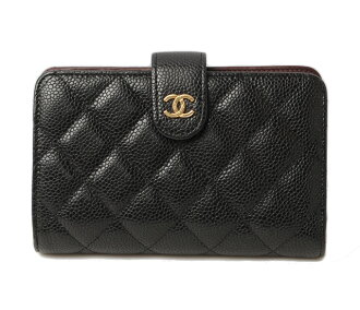 Chanel goods distribution CHANEL wallet A48667-zip quilted matelasse caviar skin black / Bordeaux.
