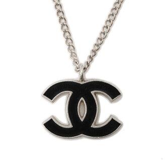 Chanel necklace / pendant CHANEL here mark black / silver