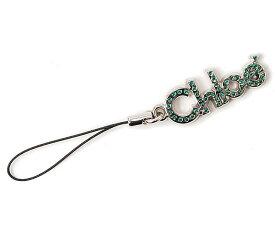クロエ 携帯ストラップ/チャーム CHLOE ラインストーン グリーン/シルバー 7APS07-7A300 P6822