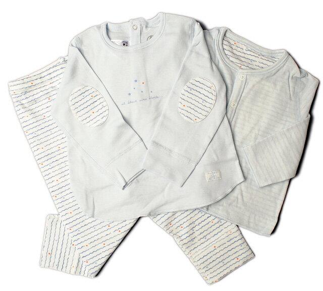 プチバトー パジャマ上下/長袖肌着 3点セット PETIT BATEAU ベビー 男の子 波/星/ブルー 出産祝い