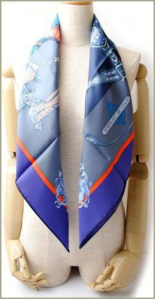 エルメススカーフHERMESスカーフカレ90シルクツイルヴァイオレット/コバルト/マリン001624S未使用【中古】