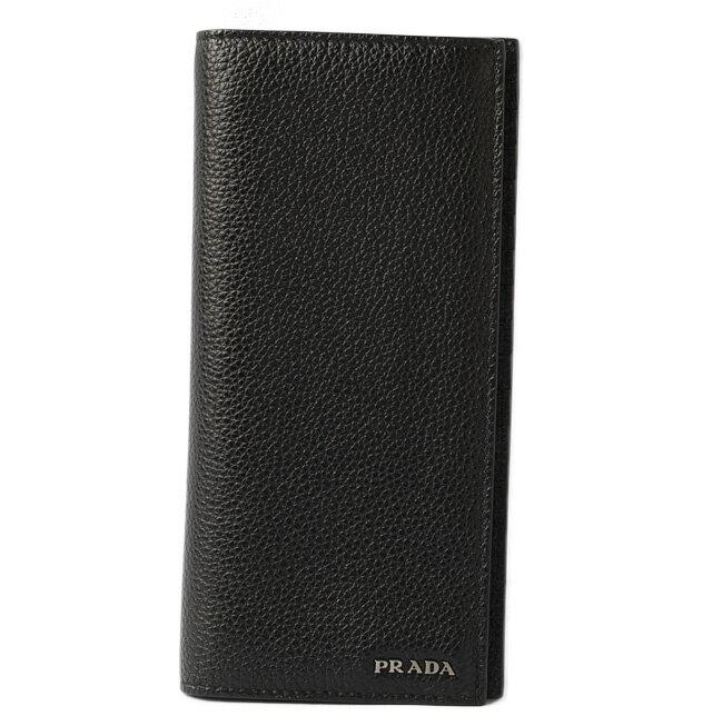 プラダ 財布 メンズ PRADA 長財布 2MV836 TORO/カーフ NERO/ブラック 未使用【中古】