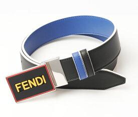 フェンディ ベルト メンズ FENDI リバーシブルベルト 7C0352 VOCABULARY ブラック/ブルー 未使用【中古】