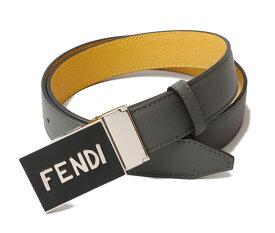 フェンディ ベルト メンズ FENDI リバーシブルベルト 7C0358 VOCABULARY アスファルト/イエロー 未使用【中古】