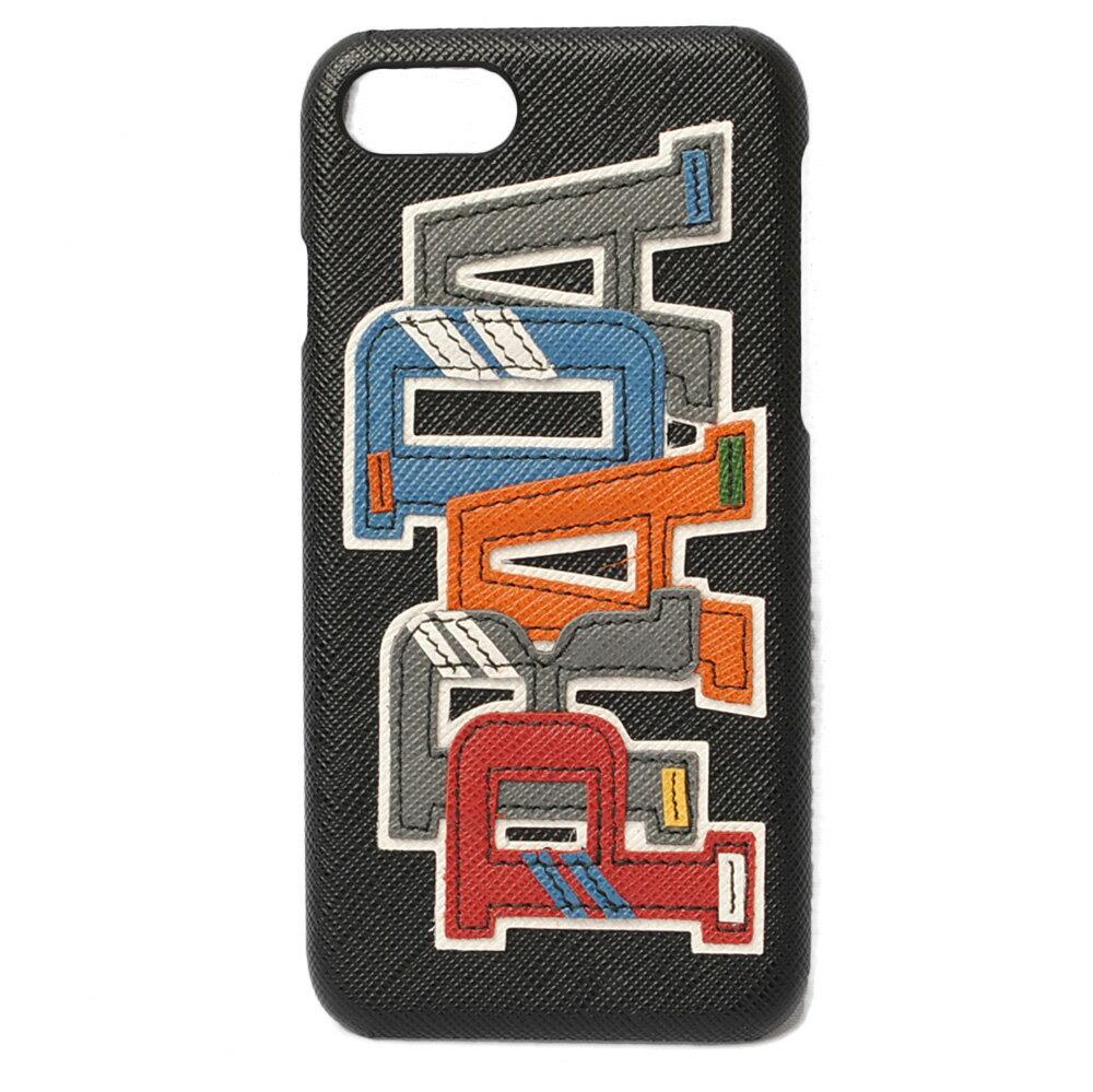 プラダ iphone 8ケース/8ケース/7ケース/7ケース PRADA iPhoneケース 2ZH035 SAFFIANO/ロゴ NERO M/ブラック未使用【中古】