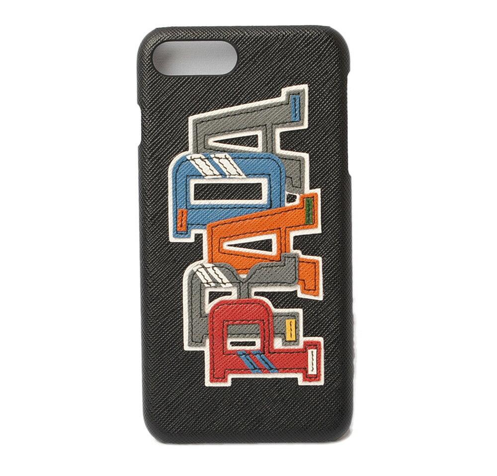 プラダ iphone 8plusケース/8+ケース/7plusケース/7+ケース PRADA iPhoneケース 2ZH036 SAFFIANO/ロゴ NERO M/ブラック 未使用【中古】