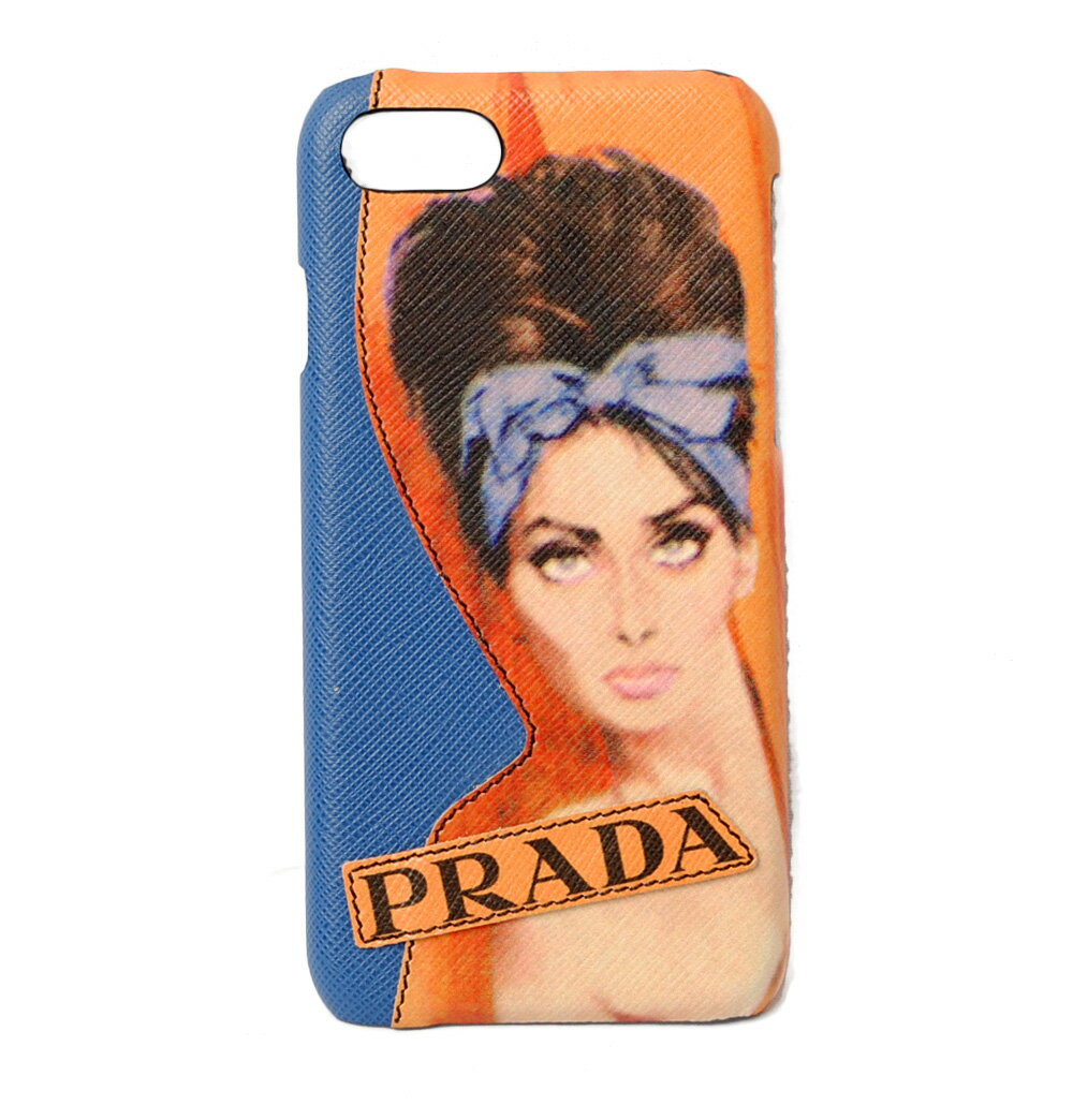 プラダ iPhone8ケース/iPhone7ケース PRADA iPhoneケース 1ZH035 SAFFIANO/型押しレザー AZZURRO/アズーロ 未使用【中古】