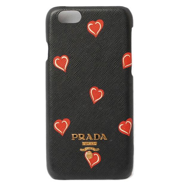 プラダ iphone 6ケース/iphone 6Sケース PRADA iPhoneケース 1ZH008 ハートSAFFIANO/型押しレザー NERO/ブラック/レッド 未使用【中古】